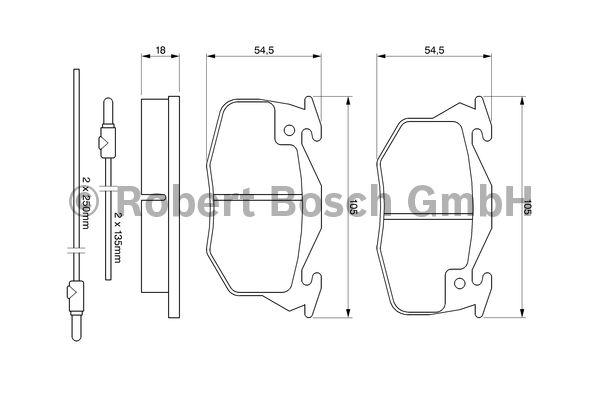 Kit de plaquettes de frein, frein à disque - BOSCH - 0 986 469 860