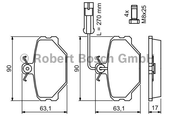Kit de plaquettes de frein, frein à disque - BOSCH - 0 986 491 050