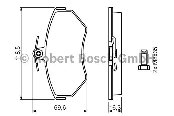 Kit de plaquettes de frein, frein à disque - BOSCH - 0 986 494 010