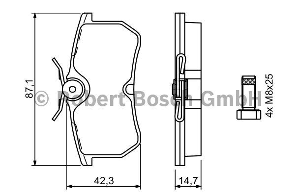 Kit de plaquettes de frein, frein à disque - BOSCH - 0 986 494 011