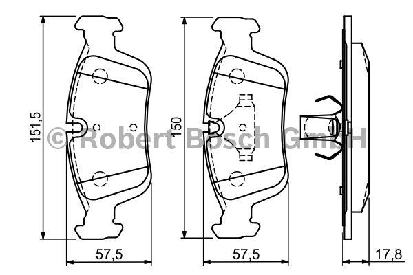Kit de plaquettes de frein, frein à disque - BOSCH - 0 986 494 015