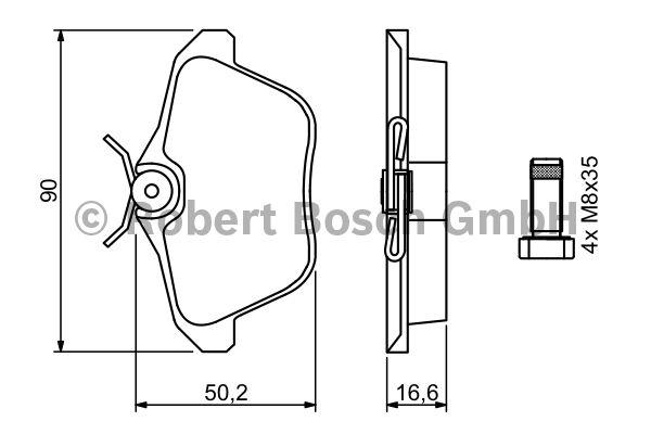 Kit de plaquettes de frein, frein à disque - BOSCH - 0 986 494 020