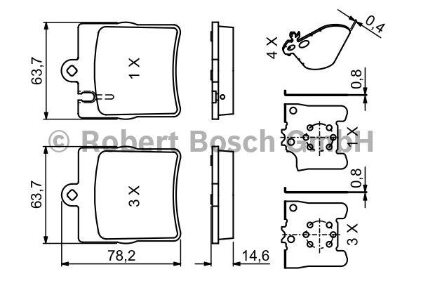 Kit de plaquettes de frein, frein à disque - BOSCH - 0 986 494 022