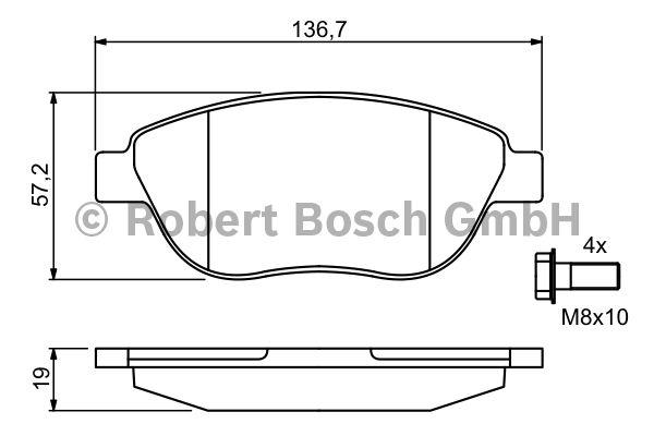 Kit de plaquettes de frein, frein à disque - BOSCH - 0 986 494 038