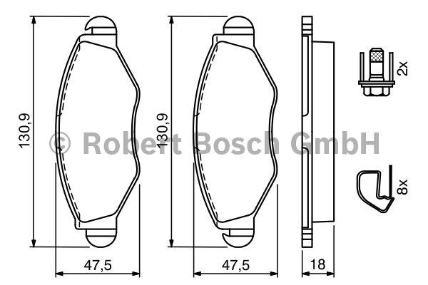 Kit de plaquettes de frein, frein à disque - BOSCH - 0 986 494 039