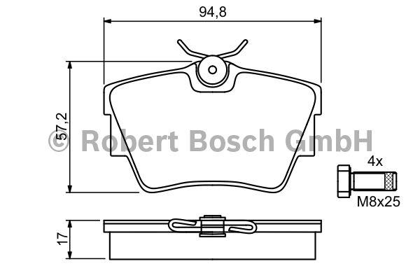 Kit de plaquettes de frein, frein à disque - BOSCH - 0 986 494 040