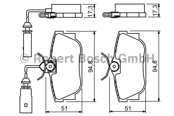 Kit de plaquettes de frein, frein à disque - BOSCH - 0 986 494 051