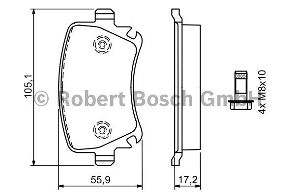 Kit de plaquettes de frein, frein à disque - BOSCH - 0 986 494 062