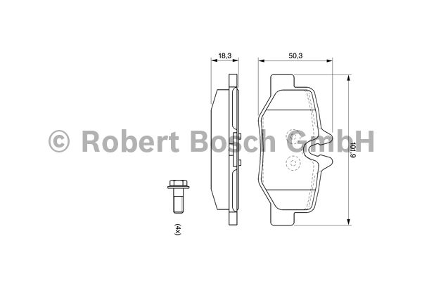 Kit de plaquettes de frein, frein à disque - BOSCH - 0 986 494 082