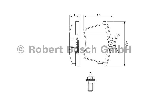 Kit de plaquettes de frein, frein à disque - BOSCH - 0 986 494 095