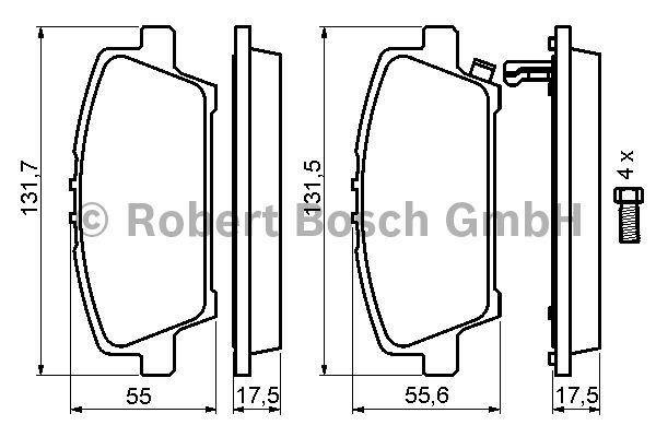 Kit de plaquettes de frein, frein à disque - BOSCH - 0 986 494 136