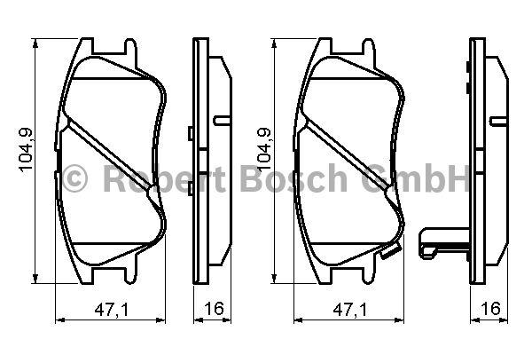 Kit de plaquettes de frein, frein à disque - BOSCH - 0 986 494 155