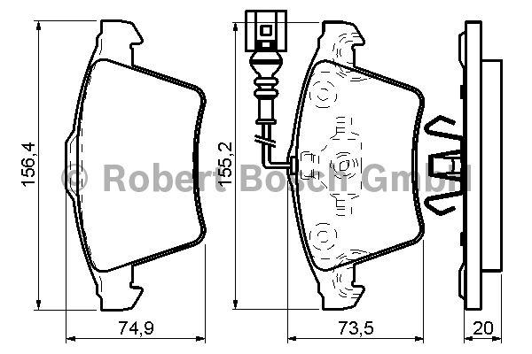 Kit de plaquettes de frein, frein à disque - BOSCH - 0 986 494 164