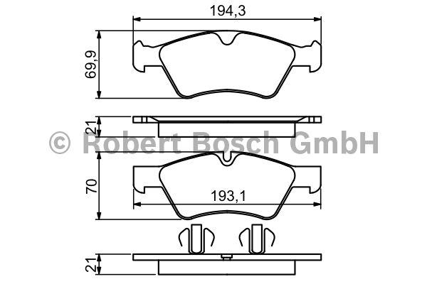 Kit de plaquettes de frein, frein à disque - BOSCH - 0 986 494 165
