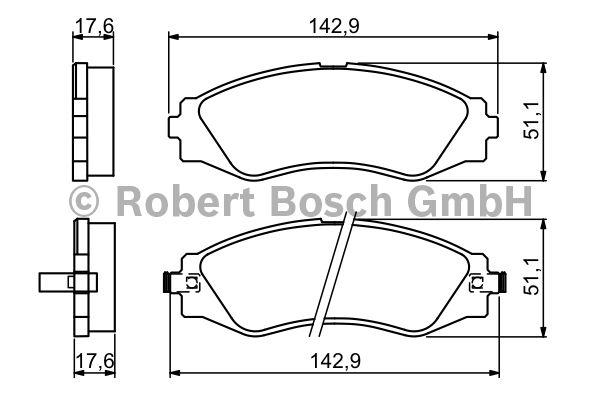 Kit de plaquettes de frein, frein à disque - BOSCH - 0 986 494 173