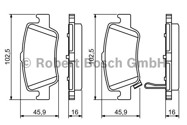 Kit de plaquettes de frein, frein à disque - BOSCH - 0 986 494 182