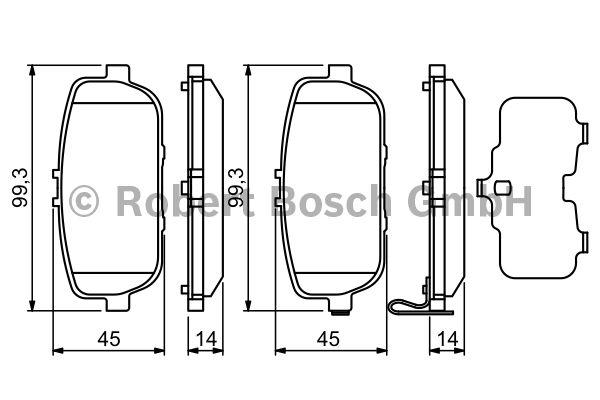 Kit de plaquettes de frein, frein à disque - BOSCH - 0 986 494 190