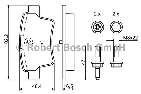 Kit de plaquettes de frein, frein à disque - BOSCH - 0 986 494 199