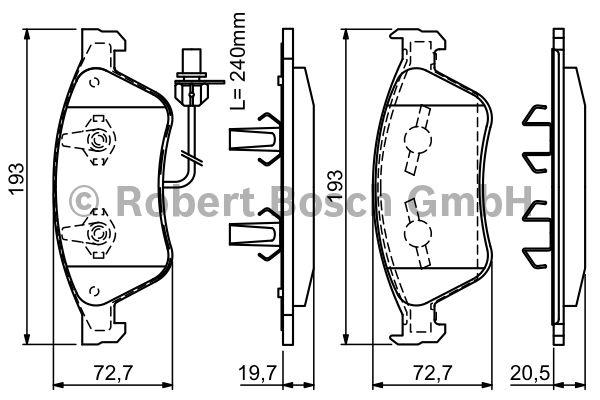 Kit de plaquettes de frein, frein à disque - BOSCH - 0 986 494 200
