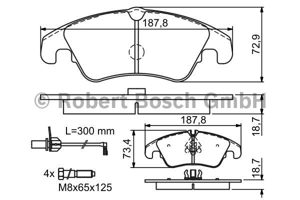 Kit de plaquettes de frein, frein à disque - BOSCH - 0 986 494 201