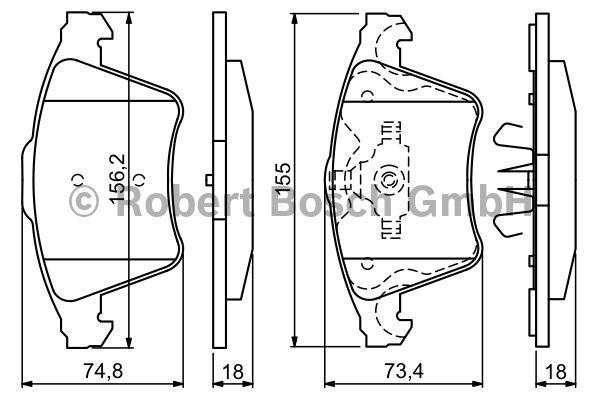 Kit de plaquettes de frein, frein à disque - BOSCH - 0 986 494 203