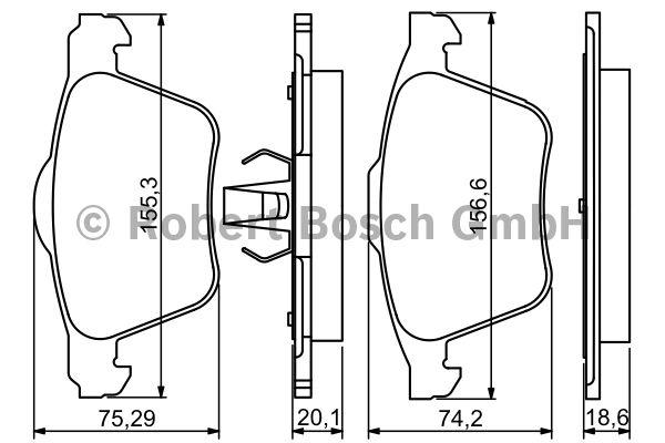 Kit de plaquettes de frein, frein à disque - BOSCH - 0 986 494 245