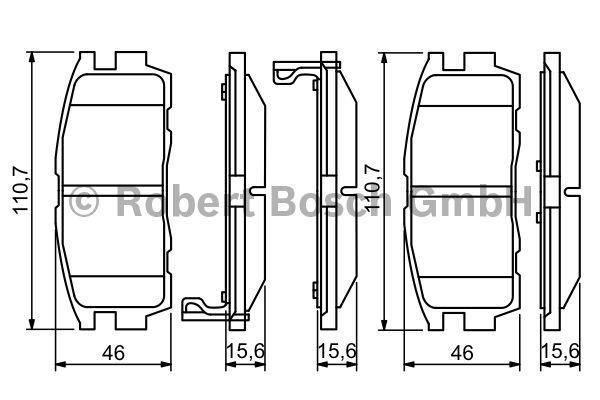 Kit de plaquettes de frein, frein à disque - BOSCH - 0 986 494 251