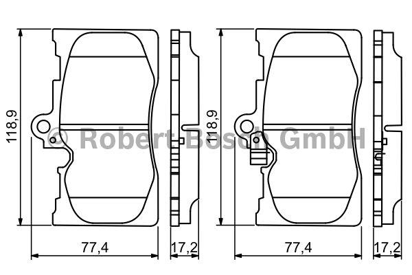 Kit de plaquettes de frein, frein à disque - BOSCH - 0 986 494 252