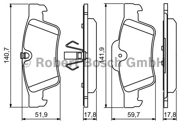 Kit de plaquettes de frein, frein à disque - BOSCH - 0 986 494 256