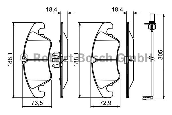 Kit de plaquettes de frein, frein à disque - BOSCH - 0 986 494 259