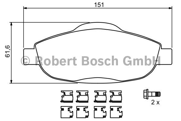 Kit de plaquettes de frein, frein à disque - BOSCH - 0 986 494 261