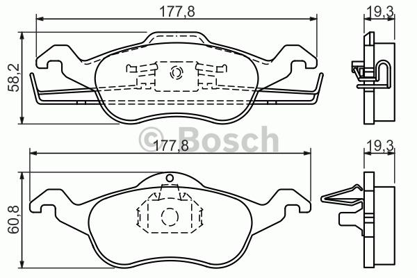 Kit de plaquettes de frein, frein à disque - BOSCH - 0 986 494 284