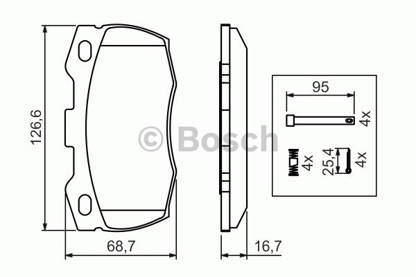 Kit de plaquettes de frein, frein à disque - BOSCH - 0 986 494 291