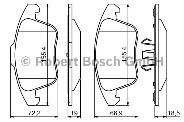 Kit de plaquettes de frein, frein à disque - BOSCH - 0 986 494 324