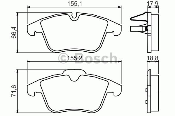 Kit de plaquettes de frein, frein à disque - BOSCH - 0 986 494 371