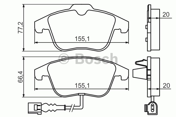 Kit de plaquettes de frein, frein à disque - BOSCH - 0 986 494 372