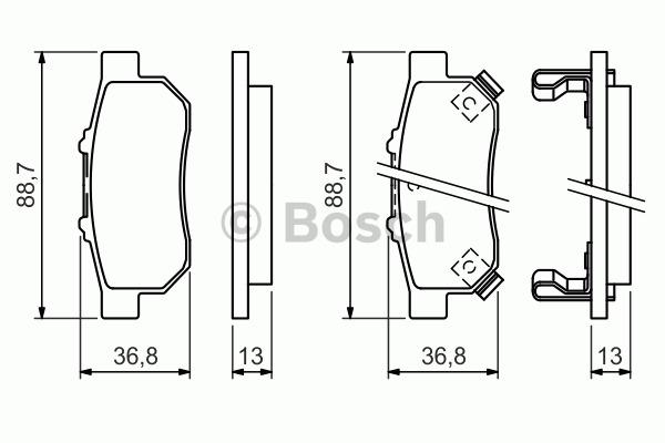 Kit de plaquettes de frein, frein à disque - BOSCH - 0 986 494 392