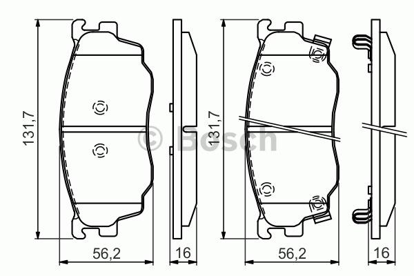 Kit de plaquettes de frein, frein à disque - BOSCH - 0 986 494 394