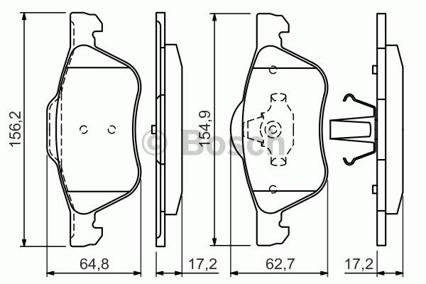 Kit de plaquettes de frein, frein à disque - BOSCH - 0 986 494 396