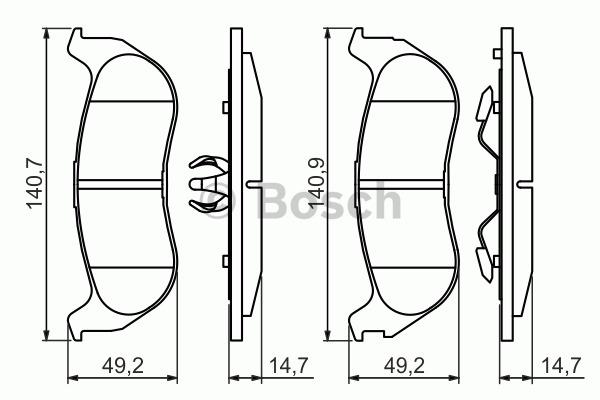 Kit de plaquettes de frein, frein à disque - BOSCH - 0 986 494 419