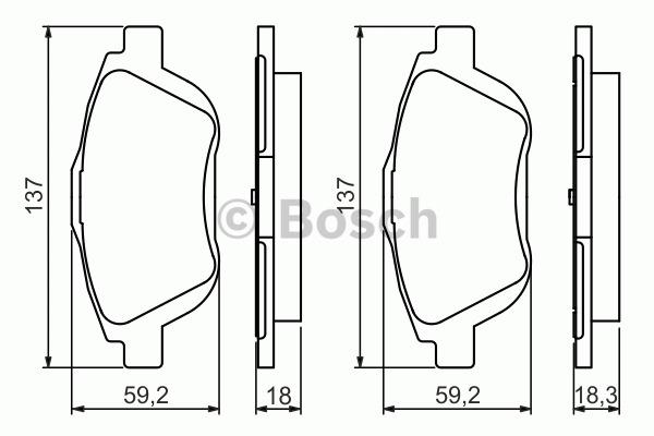 Kit de plaquettes de frein, frein à disque - BOSCH - 0 986 494 438