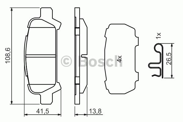 Kit de plaquettes de frein, frein à disque - BOSCH - 0 986 494 445