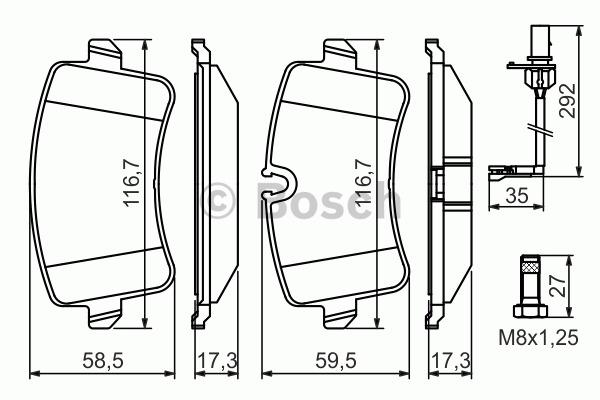 Kit de plaquettes de frein, frein à disque - BOSCH - 0 986 494 446
