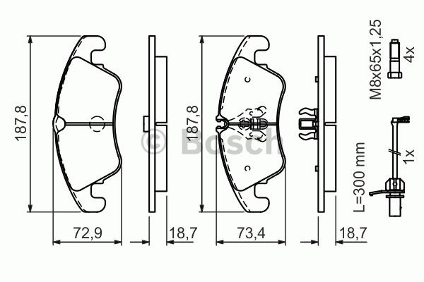 Kit de plaquettes de frein, frein à disque - BOSCH - 0 986 494 456