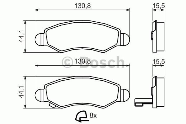 Kit de plaquettes de frein, frein à disque - BOSCH - 0 986 494 458