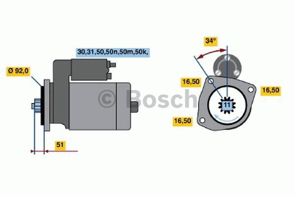 Démarreur - BOSCH - 0 001 340 501