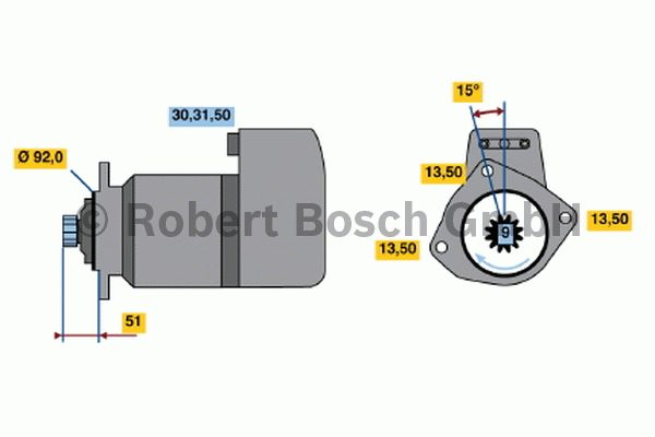 Démarreur - BOSCH - 0 001 418 014