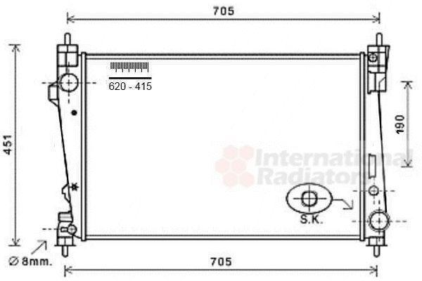 Radiateur, refroidissement du moteur - VAN WEZEL - 01002124