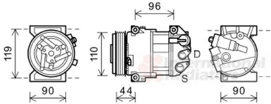 Compresseur, climatisation - VAN WEZEL - 0100K125
