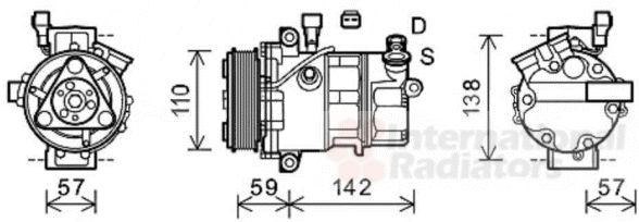 Compresseur, climatisation - VAN WEZEL - 0100K127